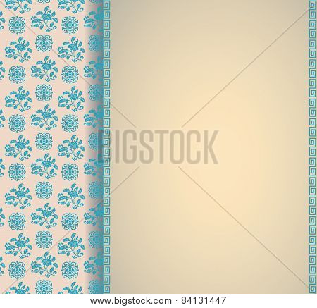 Vintage Cream And Blue Asian Floral Pattern Background