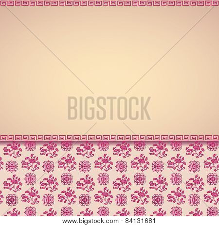 Vintage Cream And Pink Asian Floral Pattern Background