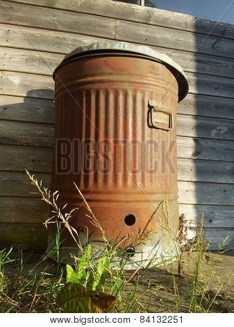 Rusty metal bin