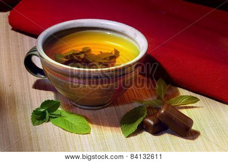 Herbal Tea In A Ceramic Cup