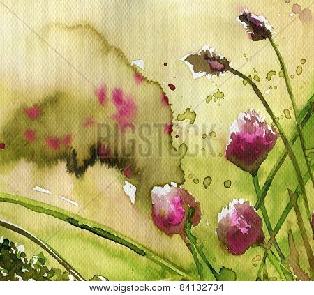 illustration depicting colorful flowers in the meadow