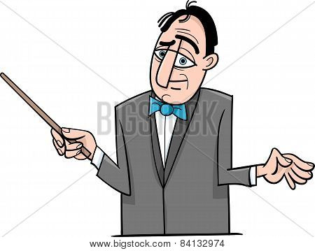 Orchestra Conductor Cartoon Illustration