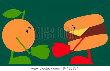 Food fight. Healthy lifestyle concept. Vector illustration