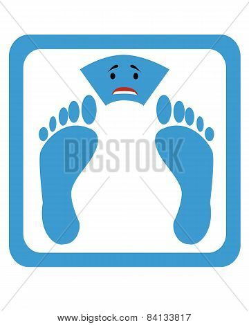 Scales with a sad expression and foot prints. Vector illustration.