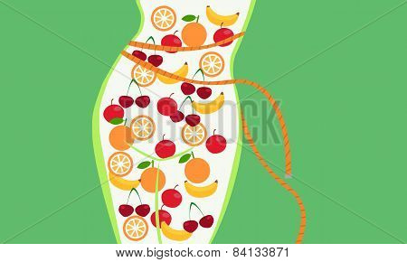 Proper nutrition. Silhouette body thin girl filled up fruit