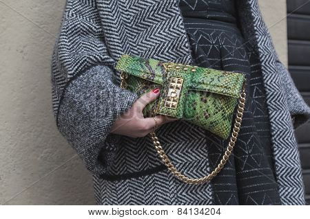 Detail Of Bag Outside Alberto Zambelli Fashion Show Building For Milan Women's Fashion Week 2015