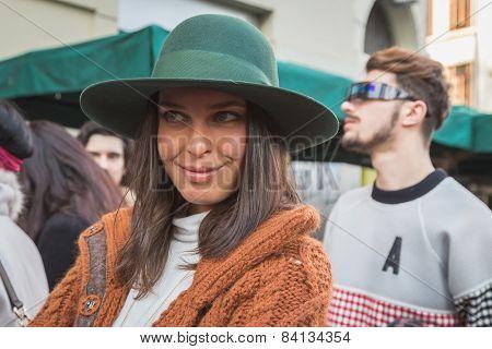 Young Woman Outside Alberto Zambelli Fashion Show Building For Milan Women's Fashion Week 2015