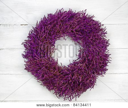 Lavender Wreath On Age White Wood