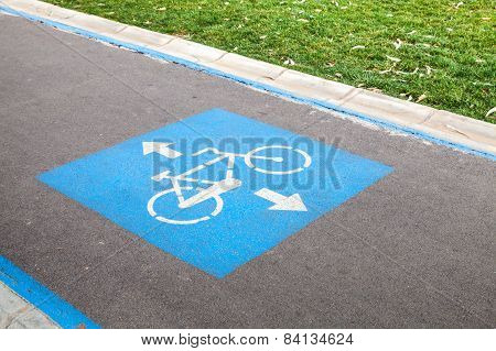 Bicycle Lane. Blue And White Road Marking