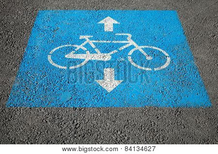 Bicycle Lane, Road Marking Over Urban Asphalt Road
