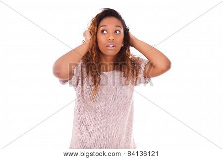 Worried Young African American Holding Her Head Isolated On White Background - Black People