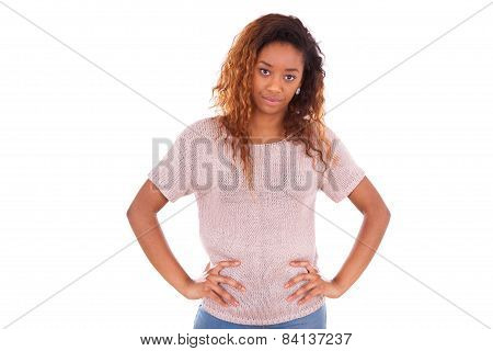 Unhappy Young African American Isolated On White Background - Black People