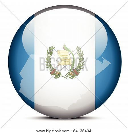 Map On Flag Button Of Guatemala