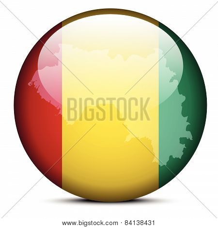 Map On Flag Button Of Republic Of Guinea