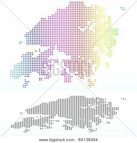 Map Of Hong Kong Sar China With Dot Pattern