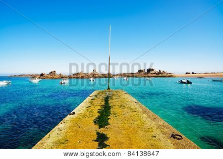 Tregastel, Concrete Jetty And Boats In Fishing Port. Pink Granite Coast, Brittany, France.