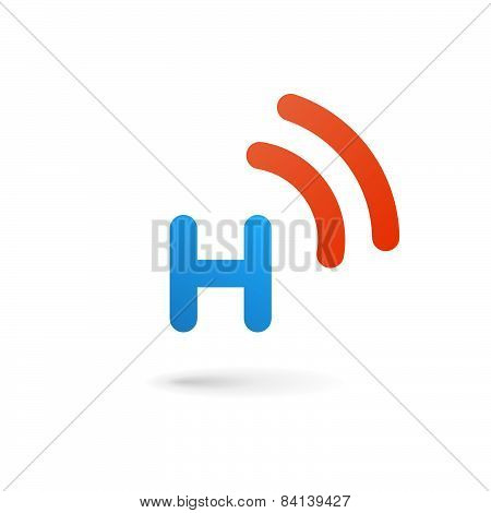 Letter H Wireless Logo Icon Design Template Elements