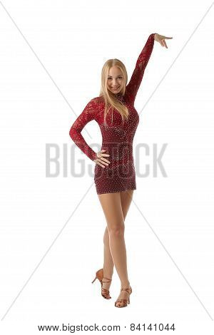 Shot of beautiful ballroom dancer posing at camera