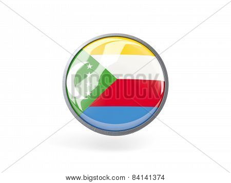 Round Icon With Flag Of Comoros