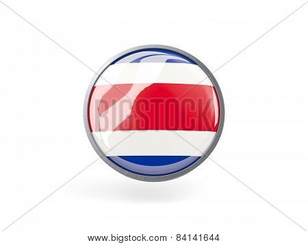 Round Icon With Flag Of Costa Rica