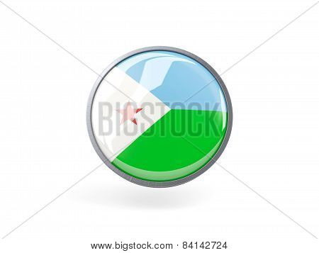 Round Icon With Flag Of Djibouti