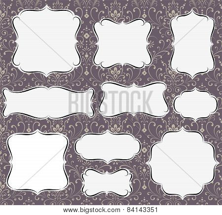 Calligraphic Frames on Damask Background
