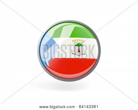Round Icon With Flag Of Equatorial Guinea