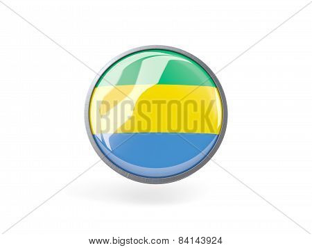 Round Icon With Flag Of Gabon