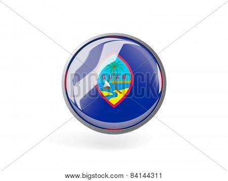 Round Icon With Flag Of Guam