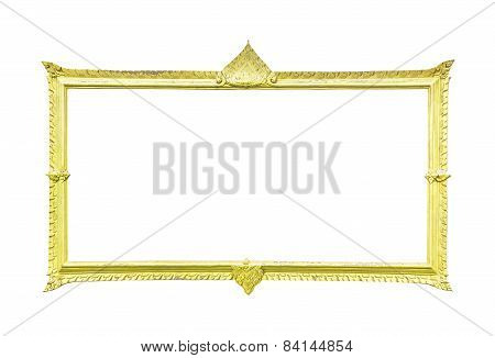 Golden Wood Frame On White
