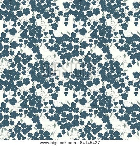 little flowers and leaves seamless spring pattern