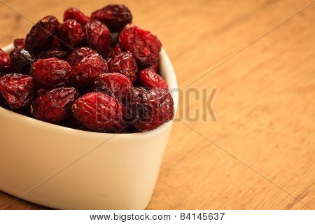 Dried Cranberry Fruit In Bowl On Table.
