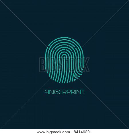 Fingerprint identification icon. Vector illustration