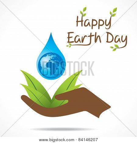 happy earth day or save water design