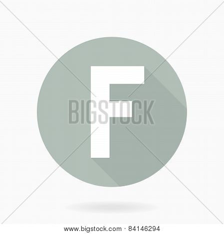 Letter F  White Icon With Flat Design