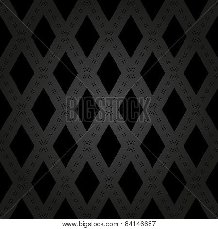 Geometric Abstract Seamless  Pattern with Black Rhombuses and Lines