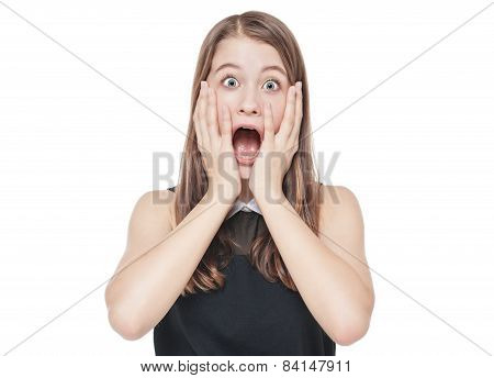 Young Scared Teenage Girl Covering Her Mouth With Hand Isolated