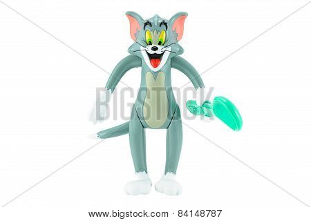 Tom Grey Cat With Spoon In Hand Toy Character Form Tom And Jerry Animation Cartoon.