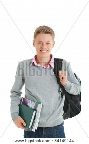 Teenage Boy With A Backpack