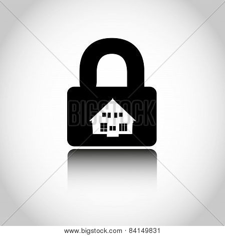 Lock house icon. Closing of firm. Vector illustration.