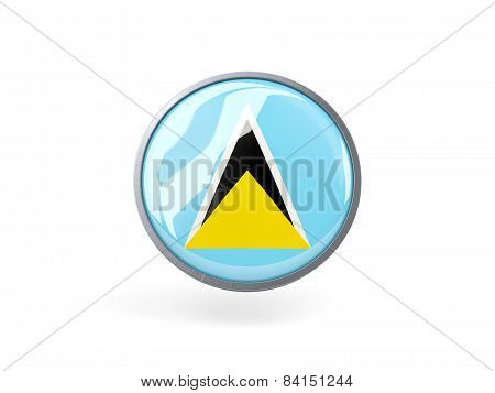 Round Icon With Flag Of Saint Lucia