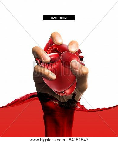 Heart Protection Medical Concept,heart Shape Made From Boxing Glove In Hand And Blood,isolated On Wh