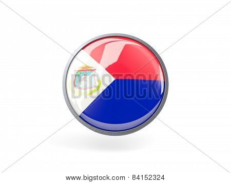 Round Icon With Flag Of Sint Maarten