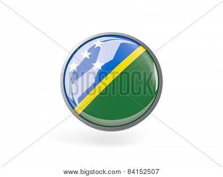 Round Icon With Flag Of Solomon Islands