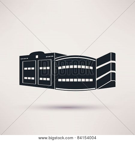 Parking building graphic icon, vector flat style.