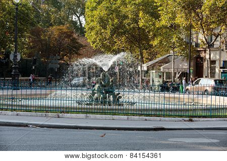 Paris - The fountain on the square of Edmund Rostand near by the Gardens of Luxembourg