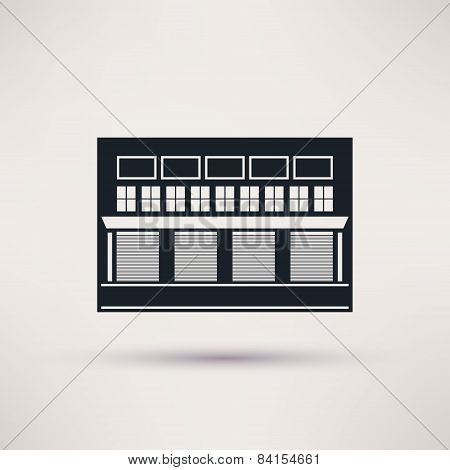 Warehouse building is an icon vector flat.
