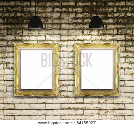 Exhibition Photo Gallery Picture Frame On Brick Wall Background And Lamp Show