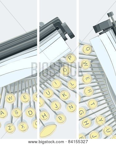Vertical Banner Of Illustration Of Typewriter.