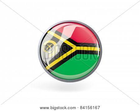 Round Icon With Flag Of Vanuatu